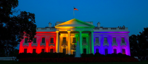 The White House lit up with the colors of pride Friday night.
