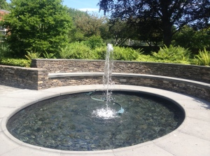 The fountain at Sunken Garden in Harvard Square.