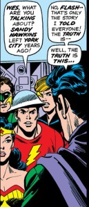 Sandman confides in his fellow heroes.