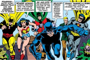 The Justice Society races into action in the now-classic 'Justice League of America' No. 123.