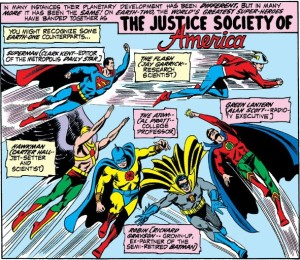 The thrilling entrance of the Justice Society of America.