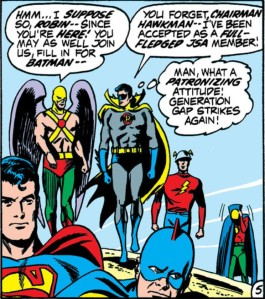JSA Chairman Hawkman apparently has not kept up with the membership.