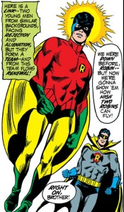 Robin finally covers up his legs.