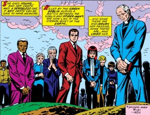 The funeral of Gwen Stacy.