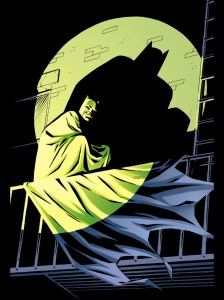 Batman - illuminated by the light of the emerald Green Lantern.