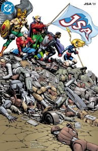 "Rag Morales gave us this striking cover to ""JSA"" No. 31."