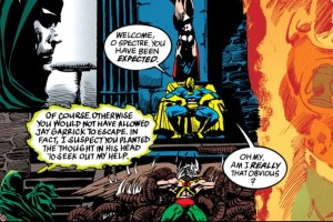 Living art?: Spirit King re-decorates the tower of Dr. Fate.