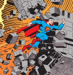 With one mighty leap, the Golden Age Superman shatters a castle wall.
