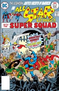 "The Justice Society battles the forces of Vandal Savage in ""All-Star Comics"" No. 64."