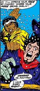 Luke Cage believes in sparing the child and beating the rabble.