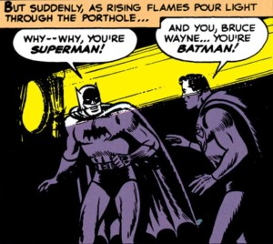 Superman and Batman realize who they are rooming with.