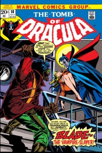"Blade gets ready to shank our undead star in ""Tomb of Dracula"" No. 10."