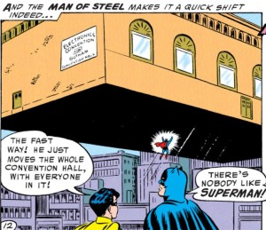 Batman supports his best pal Superman.