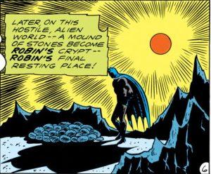 Batman mourns his fallen friend.