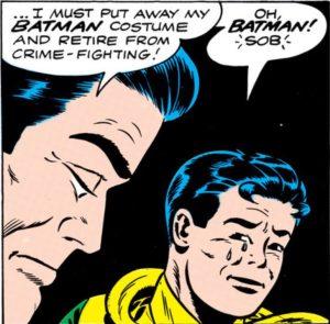 Batman no more? Bruce announces his retirement.