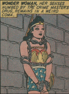 Wonder Woman. In chains. This happens out about twice in any story of this era.