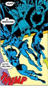 The JLA tumbles through a trapdoor.