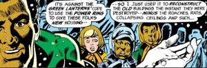 Green Lantern saves a neighborhood.