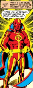 Red Tornado dons his new costume.
