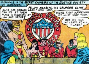 "A panel from JSA story ""The Plight of a Nation!,"" reprinted in JLA No. 110."