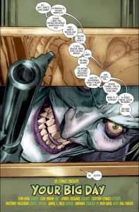 The Joker peeks through the mail slot. The mailman is probably running for his life.