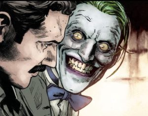 The Joker scares his audience.