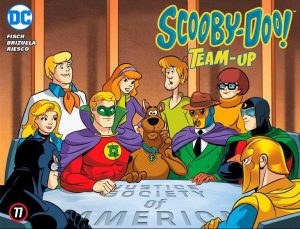 "The JSA in all their glory - on the cover of the latest issue of ""Scooby-Doo! Team-Up."""