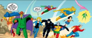 In action again, finally, the Justice Society of America.